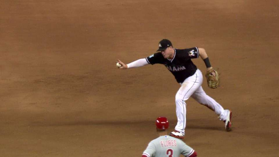 Bour's sprawling stop at first