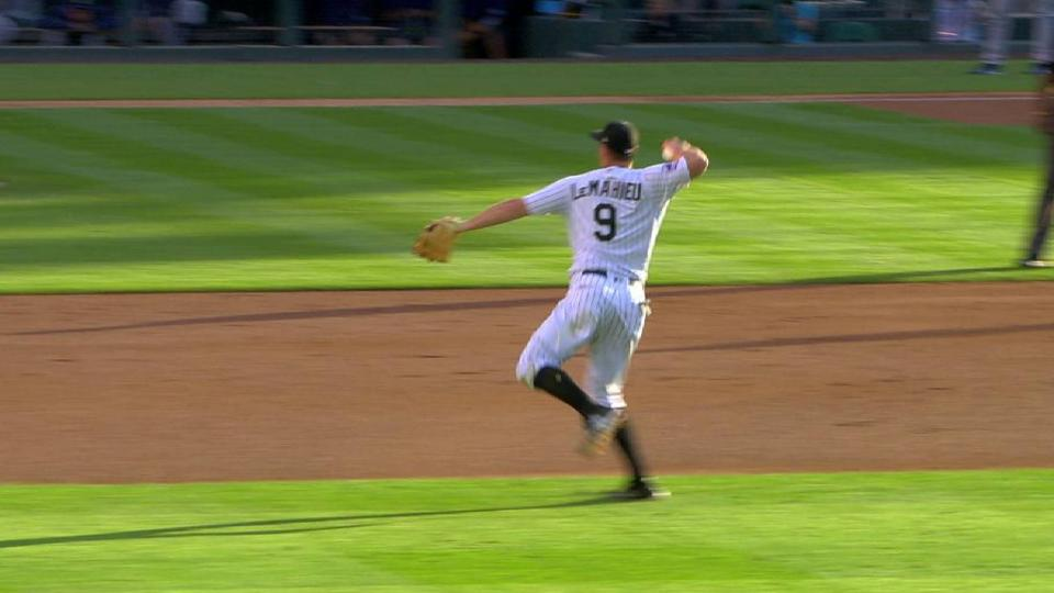 LeMahieu's smooth leaping throw