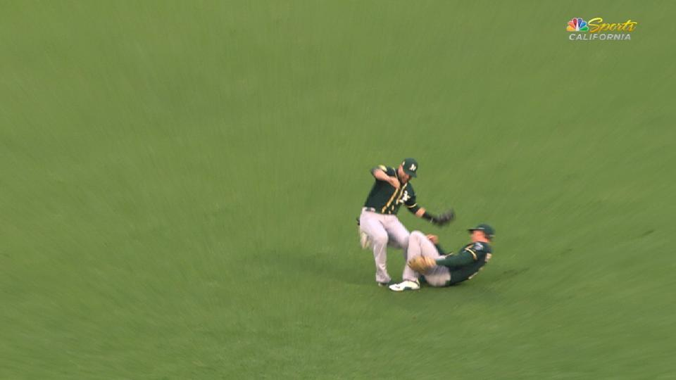 Lowrie exits after collision