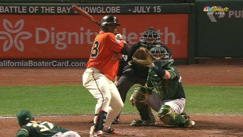 Sandoval hit by pitch, stays in