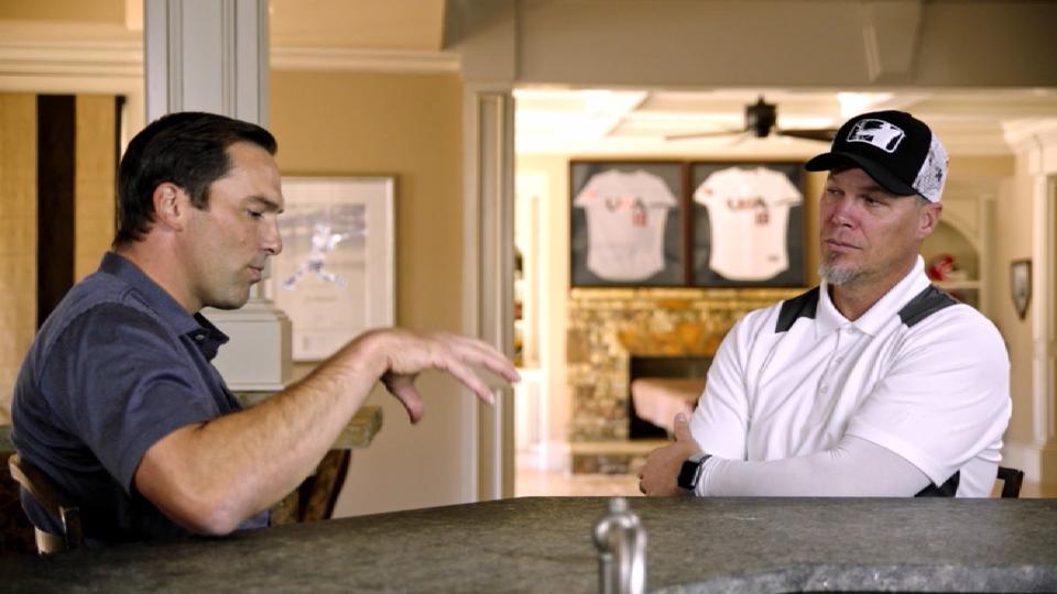 DeRosa chats with Chipper Jones