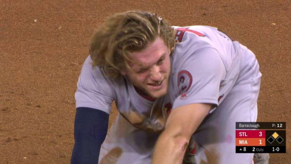 Bader injures head on steal