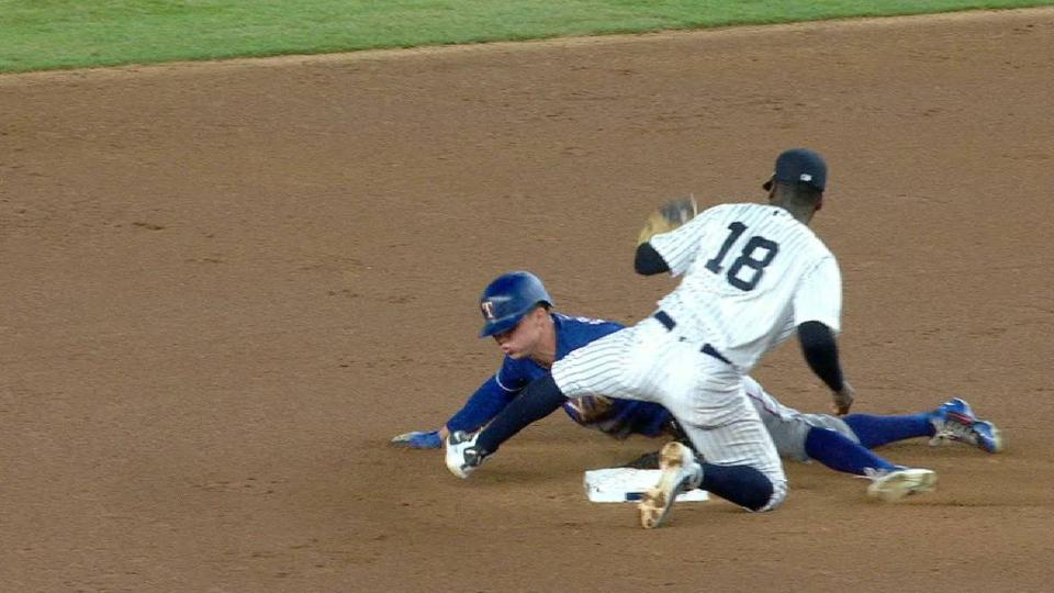 Robinson steals second on review