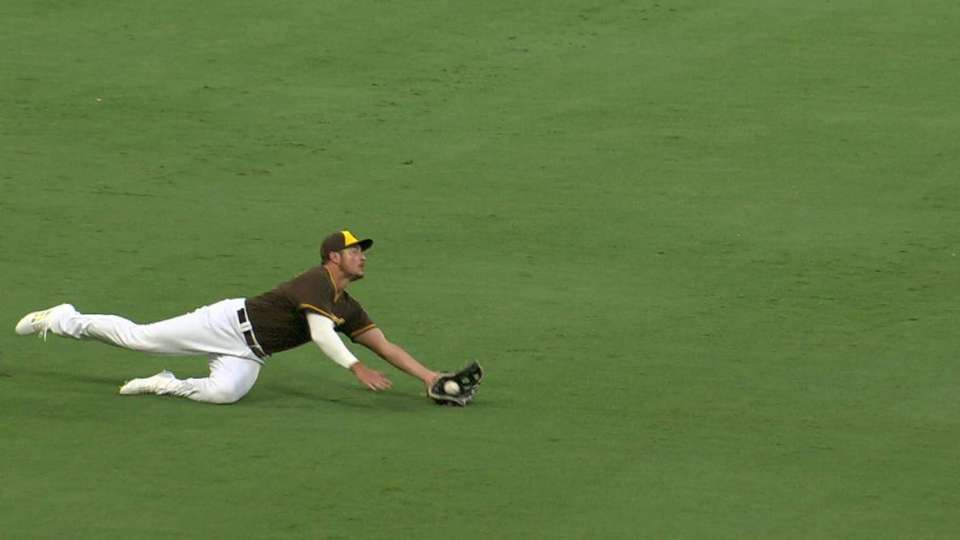 Renfroe's diving snag in left