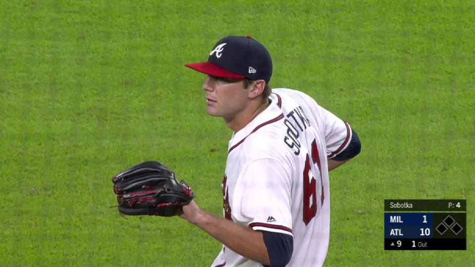 Sobotka's 1st career strikeout