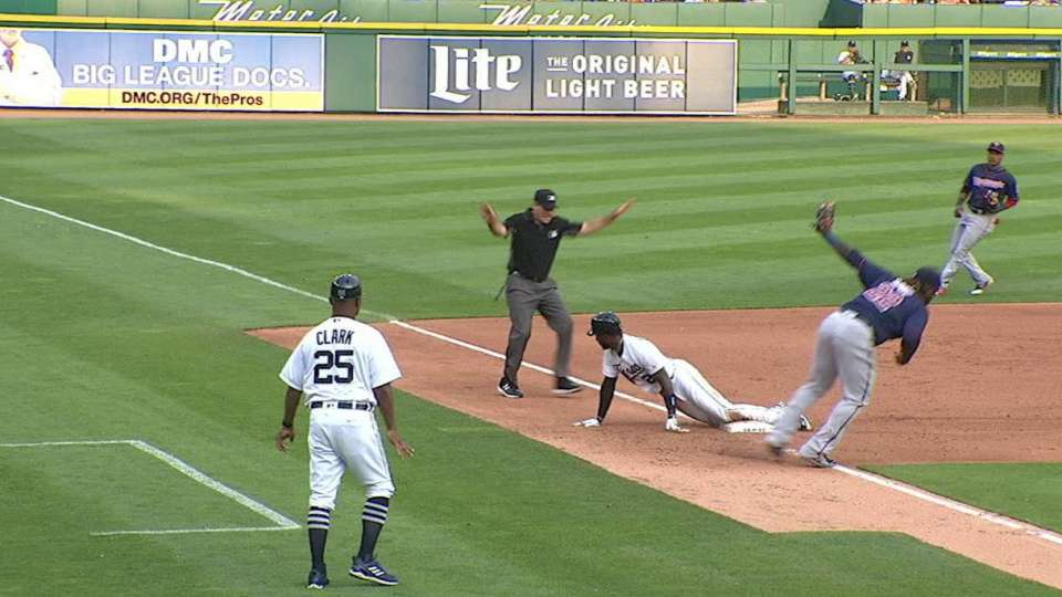Sano tags Goodrum out at third