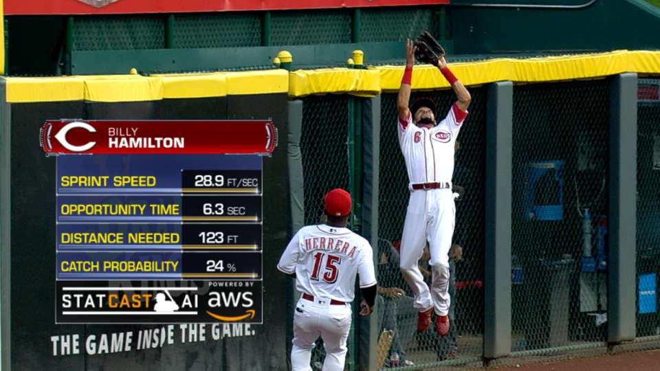 Statcast: Hamilton's tough grab