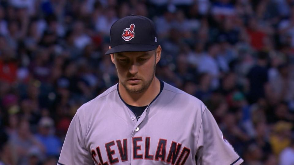 Bauer fans 8, exits game in 7th