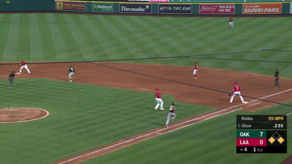 Robles induces double play