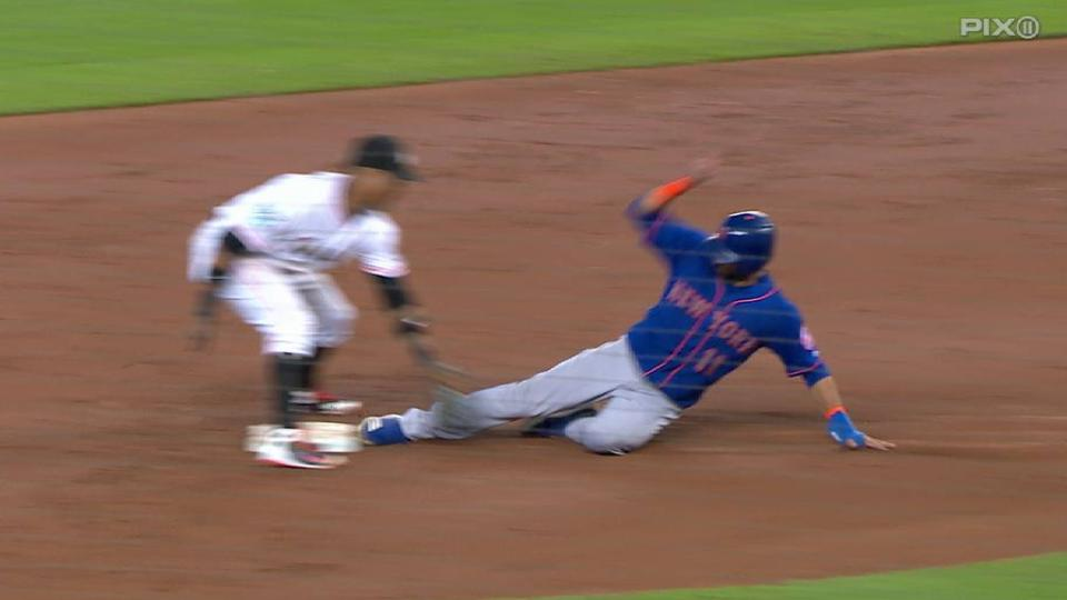 Bautista ruled safe at second