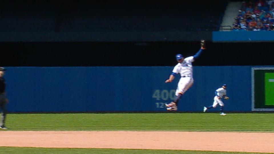 Travis' leaping grab