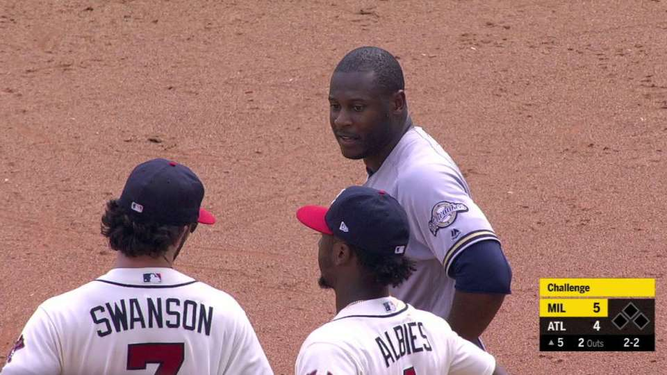 Flowers throws out Cain at 2nd