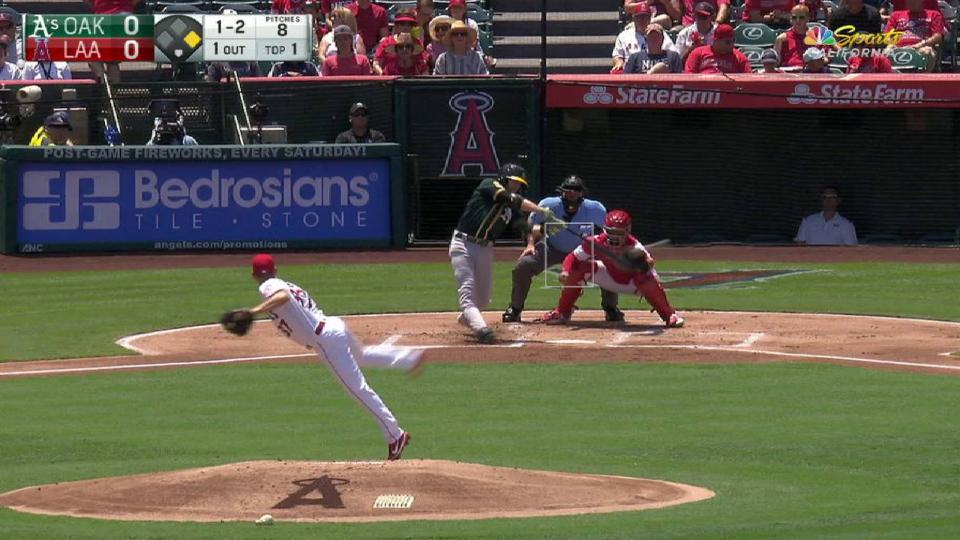 Lowrie's 1,000th career hit