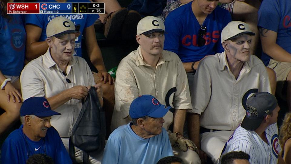Zombie Cubs players in the crowd