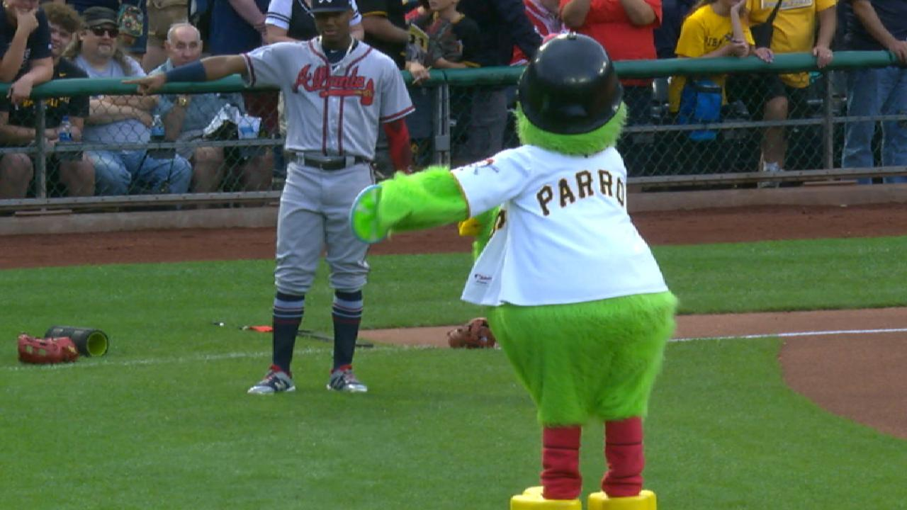 promo code 91c2e 1d25a Braves' Albies and Acuna dance with Pirate Parrot   MLB.com