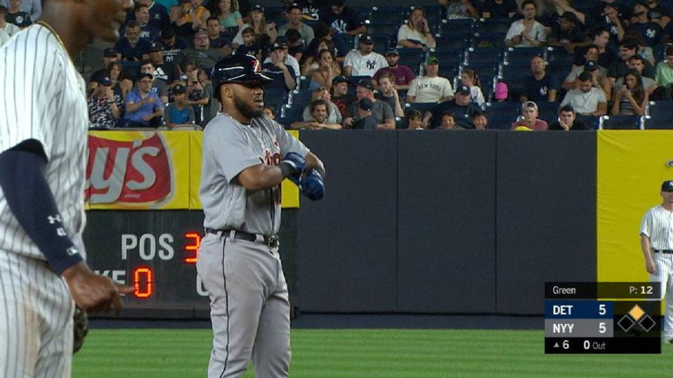 Lugo doubles for 1st career hit