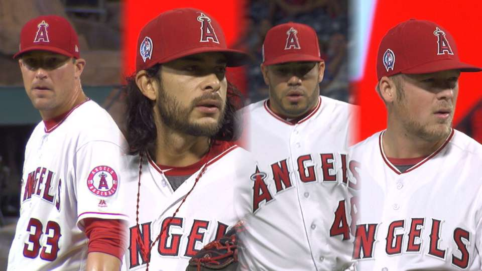 Angels bid for no-no in win