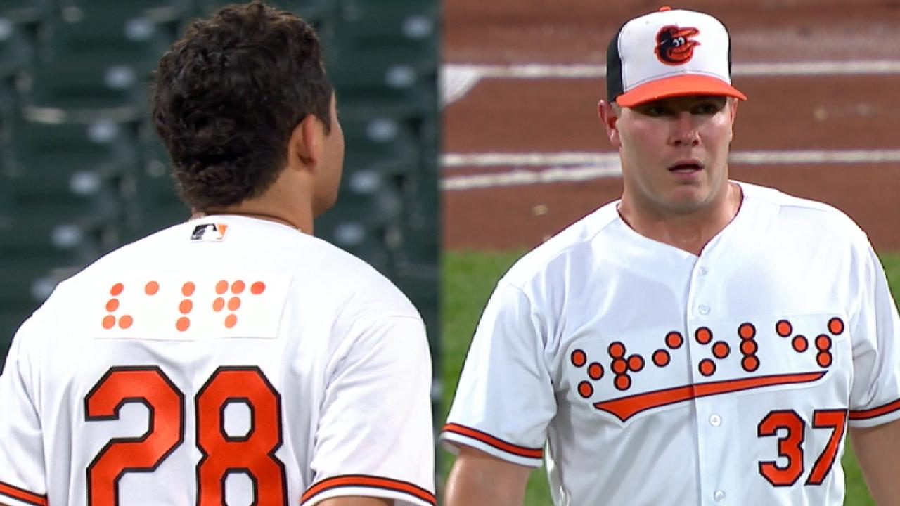 dfb87d0d4e7 The Orioles wore Braille jerseys
