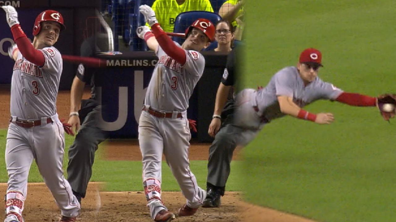 Gennett's 4 RBIs, clutch defense