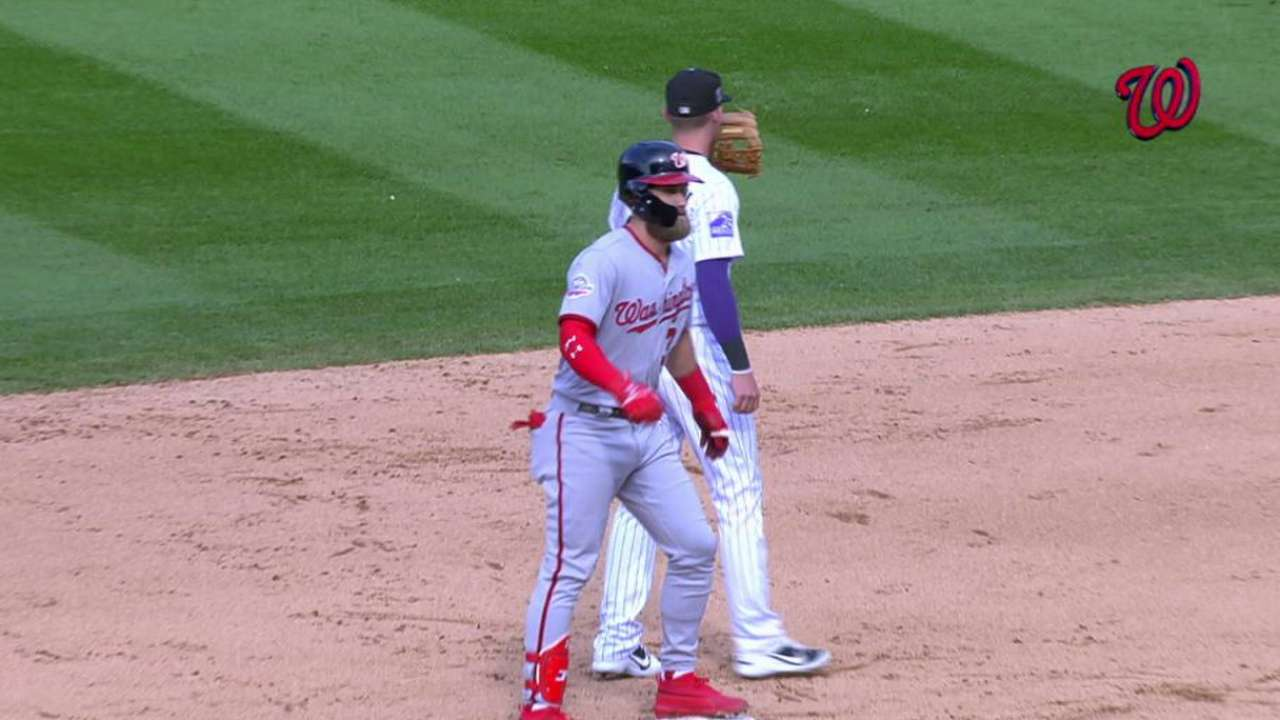 Harper doubles in the 9th