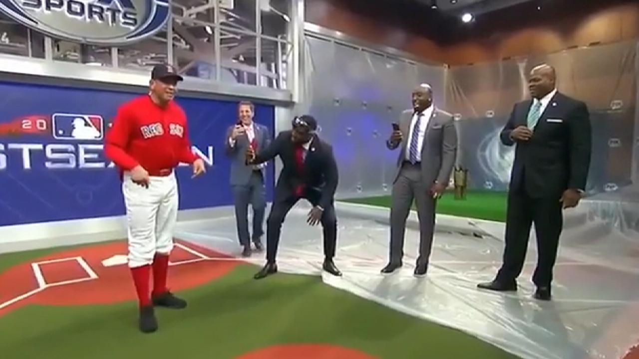 best sneakers 1add1 f6ec4 A-Rod wears Red Sox jersey on FS1 after bet with David Ortiz ...