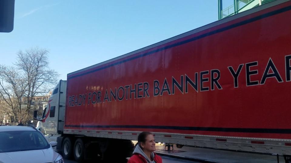 Red Sox send off trucks