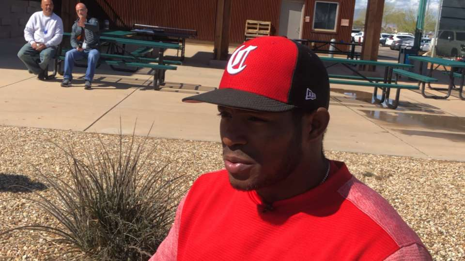 Puig on his 1st day at Reds camp