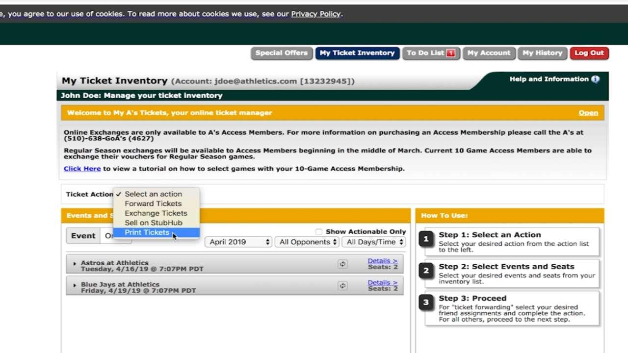 A's Ticket Technology | Oakland Athletics